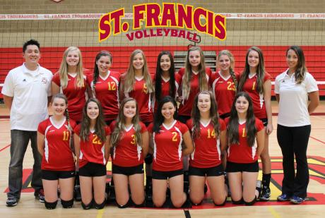 2014 St. Francis Freshmen Volleyball Team: Front Row (L to R): Sidney Clymer Engelhart, Lauren Sylvester, Gracie Hause, Marisa Yamada, Morgan Kaeser, Molly Wilson. Back Row (L to R): Head Coach Lawrence Whang, Kristine Runnberg, Shannon Kane, Maddie Brown, Jessica Walke, Lauren Dodier, Maggie Malaney, Caire Mellberg, Assistant Coach Cassie Loessberg.