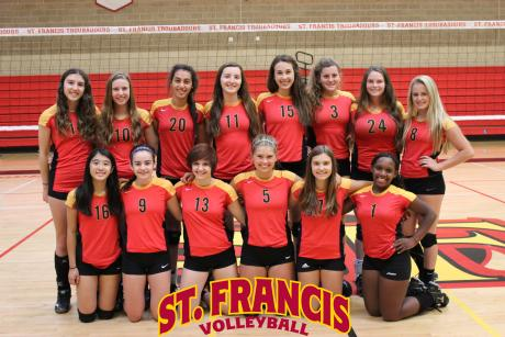 2014 St. Francis JV Volleyball Team: Front Row (L to R): Taylor Ngo, Aubrey Kenny, Olivia Birmingham, Cassidy Wilbourn, Emily Davis, Sharon Rocco. Back Row (L to R): Victoria Reyes, Madelyn Schildmeyer, Brianna Pressley, Jessica Gianulias, Natalie Woodruff, Claire Barbe, Mady Enos, Bailey Avery.