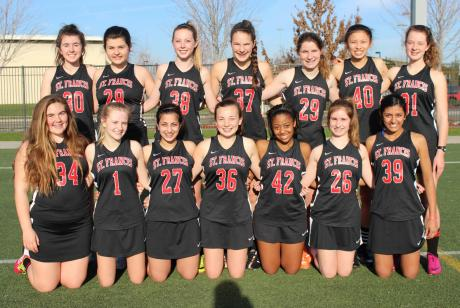 2015 St. Francis Junior Varsity Lacrosse Team – Back Row (L to R): Madeline Bosley, Molly Pirnik, Rachel Wick, Melia Dowd, Mary Burky, Teresa Lee, Kristen Barow. Front Row (L to R): Libby Price, Anika Duncan, Kismet Gill, Anna Kenyon, Joelynn Coleman, Abby Stiveson, Pria Nijhar.  Not pictured: Madeline BIsley, Nicole Frank, Nicole Hopkins.