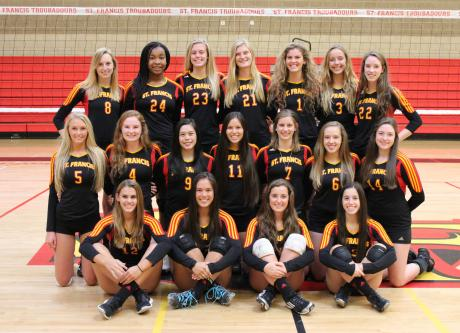 2014 St. Francis Volleyball Team First Row (L to R): Carly Simpson, Maddy Miller, Abby Fitzgerald, Marie Rhoads. Middle Row (L to R): Lizzy Corfee, Emily Peters, Candice Reynoso, Ashley Sutter, Mary-Kate Schildmeyer, Kelsey Grover, Nina Sanfilippo. Back Row (L to R): Marissa Gollnick, Aiyu Aimufua, Sydney Ranker, Carey Fuchs, Anna Donald, Kylie Green, Claire Schutz.