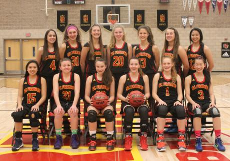 2015-16 St. Francis Junior Varsity Basketball Team: First Row (L to R): Raenalyn Montemayor, Annie McDaniel, Jorie Keitges, Lauren Pank, Adrienne Graybill, Sarah Huang. Back Row (L to R): Nika Bagatelos, Ally Gage, Nicole Frank, Maggie Malaney, Megan Austin, Morgan Kaeser, Isabella Quiniola.