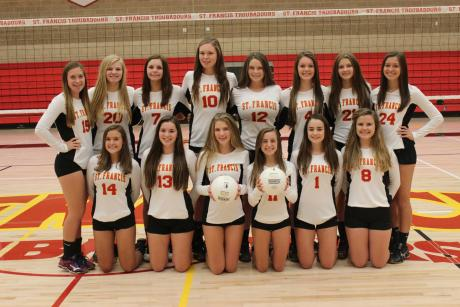 2015 St. Francis JV Volleyball Team: Front Row (L to R): Gracie Hause, Shannon Kane, Maggie Malaney, Camielle Enes, Aubrey Kenny, Abby Erckenbrack. Back Row (L to R): Jessica Ponik, Kristine Runnberg, Lauren Dodier, Carly Deterding, Mady Enos, Claire Mellberg, Julianne McElderry, Aine Colgan.