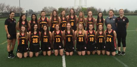2016 St. Francis Varsity Lacrosse : Back Row (L to R): Rhyann O'Mara, Maggie Pinkston, Jade Borg, Kelly Chavez, Erika Palmer, Megan Hoffeditz, Marin Anderson, Avery Myers, Kate Macintyre. Back Row (L to R): Assistant Coach Sara Fitzsimon, Grace Passantino, Kismet Gill, Sarah Brust, Zoe Pearlman, Maggie Anderson, Hailey Bailey, Sarah Westover, Juliette Vielhauer, Meg Anderson, Co-Head Coach Julia Southard and Co-Head Coach Spenser Brown Ruvalcaba.