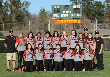 2016 St. Francis Varsity Softball Team – Back Row (L to R): Assistant Coach Sean Smith., Ellie Chiappe, Bella Valentine, Shelby Tevis, Akeylah Moses, Mel Baccay, Emily Ainsley, Kelsea Williams, Jada Kanemasu, Head Coach Kevin Warren, Arden Hatch and Assistant Coach Al LoGiudice. Front Row (L to R): Mary Baccay, Chloe Smith, Sydney Littles, Lauren Washburn, Gabbi Guerrera, Makayla Scott, Caitlin Caldwell. Not pictured: Hannah Willover.