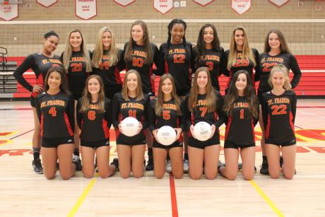 2016 St. Francis Volleyball Team: First Row (L to R): Alexa Edwards, Gracie Hause, Kelsey Grover, Emily Davis, Madelyn Schildmeyer, Aubrey Kenny, Maggie Malaney. Second Row (L to R): JJ Smith, Jessica Gianulias, Claire  Barbe, Carlie Deterding, Aiyu Aimufua, Kathryn Kramer, Carly Simpson, Mady Enos.