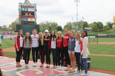 Photo Caption (From L to R): Maggie Oys (Water Polo), Ashley Newland (Soccer), Emily Peters (Swimming), Avery Spector (Tennis), Elle Minor (Water Polo), Ally Tambornini (Water Polo), Lilly Enes (Track and Field), Ariane Arndt (XC/Track and Field), Chase Worthen (Cross Country), Sydney Vandegrift (XC/Track and Field) and Shelby Tevis (Softball).