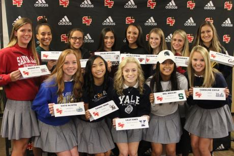 Caption: Thirteen St. Francis Troubadours participated in the National Letter-of-Intent and College Commitment Celebration at St. Francs on Wednesday. Front Row (L to R): Katie McIntee (Swimming, San Jose State), Tiffany Wong (Diving, UC San Diego), Lilly Enes (Track & Field, Yale), Mel Baccay (Softball, Michigan State), Caroline Coyle (Crew, UCLA). Back Row (L to R): Maggie Oys (Water Polo, Santa Clara), Tia Hay (Basketball, Colorado State), Jenna Barthels (Water Polo, Cal-State Northridge), Chloe Mitchell (Swimming, Fordham), Nicole Spring (Track & Field, Brown), Julianna Qvistgaard (Crew, Cal), Julie Zanobini (Water Polo, Loyola Marymount), Ariane Arndt (Track &Field, Cal).
