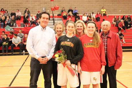 Vacaville's Isabel Soloaga was recognized at St. Francis Senior Night on Feb. 13 with her sister Camille, parents Kathy and Dean, and grandparents.