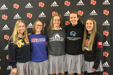 Five St. Francis seniors signed to play soccer in college next fall and were celebrated at a ceremony on campus Wednesday morning. (From L to R) Hailey Barrett (UC Santa Barbara), Aly Barr (Williams Jessup), Erin Barr (The Master's College), Rhys Wynbrandt (Hawaii Pacific) and Ashley Newland (Louisiana at Lafayette).