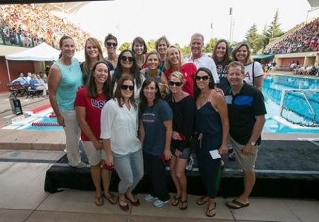 The 2000 Olympic Women's Water Polo Team reunited for the first time in 16 years on July 28. The group made history winning silver at the first ever Olympic Games to offer women's water polo. Image via Jeff Cable Photography.