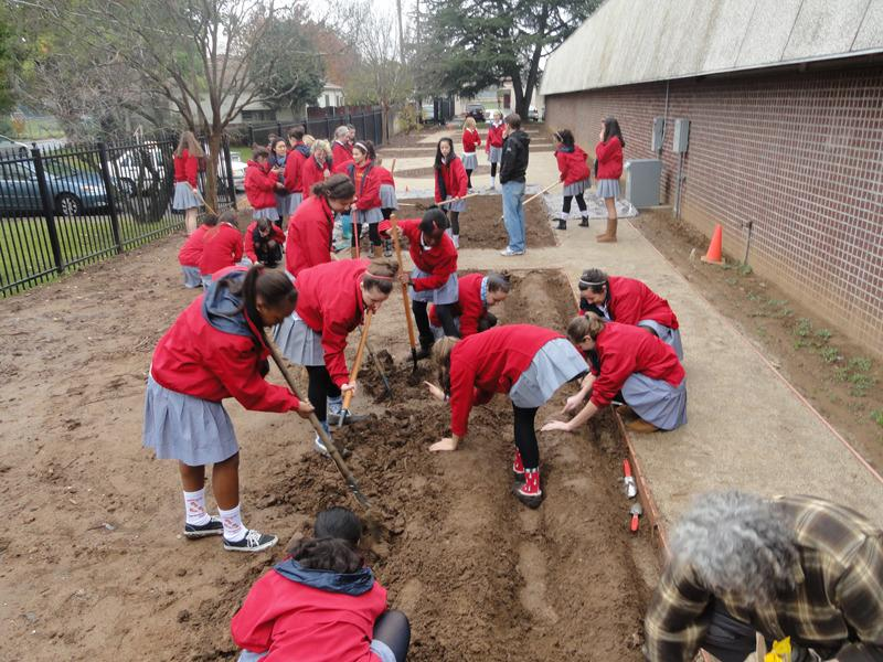 Students creating the garden.