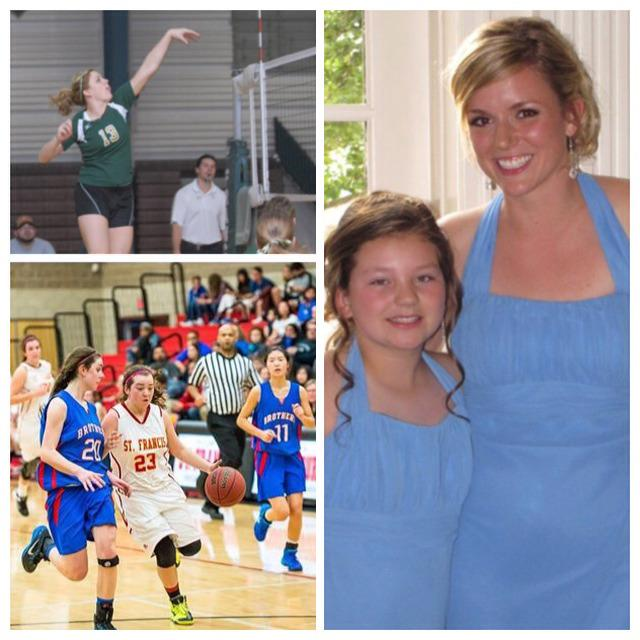 Skyler Maccoun, a sophomore at St Francis (JV Basketball), and her older sister Meghann Maccoun Nepil, who played college volleyball for Franciscan University in Steubenville, Ohio. #NationalSiblingDay
