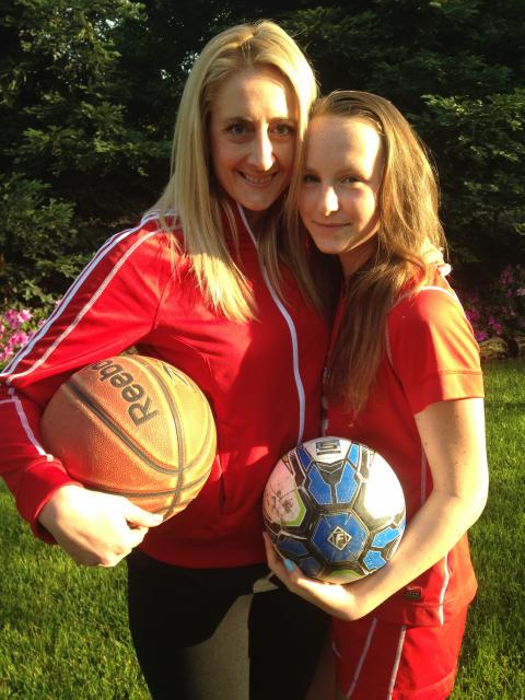 Alumna Maren Martinelli with her sister Lauren, who plays on the freshmen soccer team this season. Maren was a standout for the basketball team and is currently an assistant coach for the varsity team.