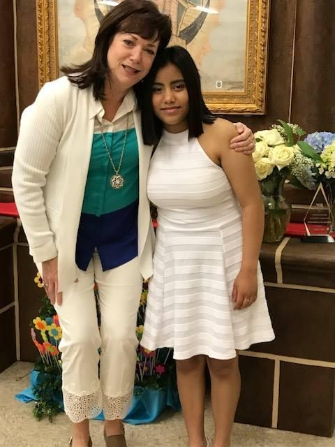 Miroslava Zaragoza '21 with Advancement Director Mary Ann Kelly